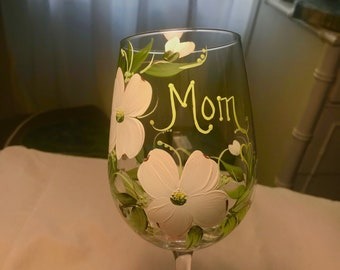 Dogwood blossom hand painted wine glass personalizable for mothers grandmothers friends family bridal parties weddings free shipping
