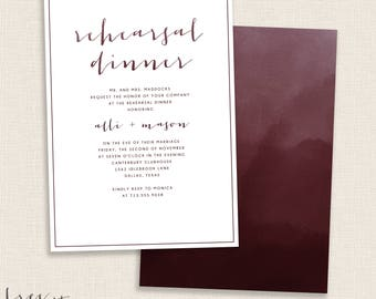 BURGUNDY - DIY Printable Rehearsal Dinner - Invitation - Ombre - Wedding - Watercolor Painted Calligraphy - Double Sided Dark Red and Maroon