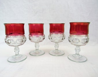 4 Kings Crown goblets Indiana glassware thumbprint 11 oz ruby flash vintage 1960s 1970s