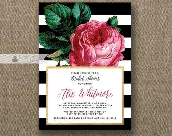 Pink Rose Bridal Shower Invitation Black White Stripes Gold Metallic Modern Vintage Botanical FREE PRIORITY SHIPPIN or DiY Printable- Alix