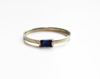 Blue Sapphire Baguette Ring (14K white or yellow gold)