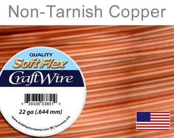 22 Gauge Non-Tarnish  Copper Soft Flex Wire,  Round, Non-Tarnish,  Supplies, Findings
