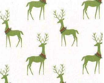 Woodland Winter Mistletoe Reindeer Christmas Fabric By Michael Miller Fabric Sold By The Half Yard in One Continuous Cut