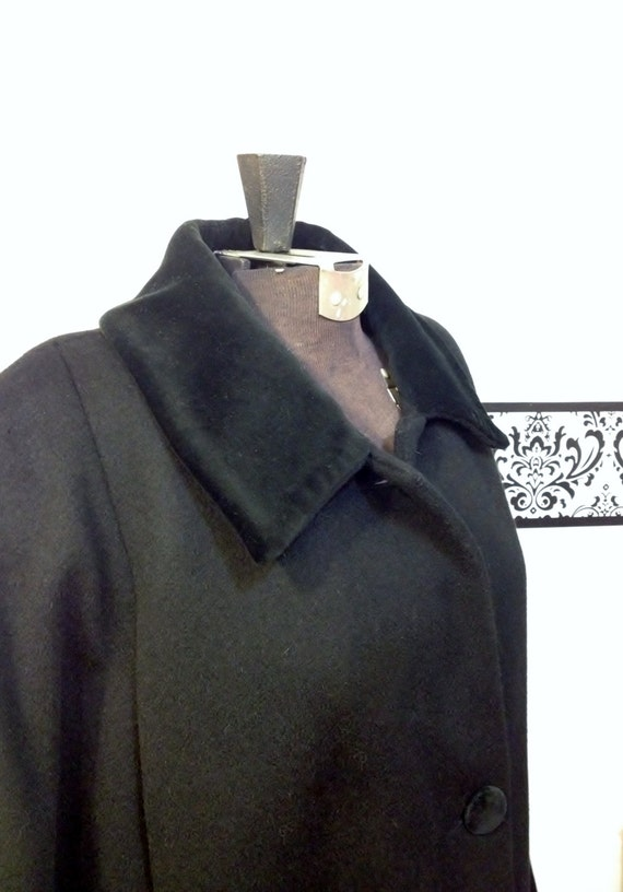 with Size Hollywood Plus by 22W Fine Vintage of Boston Coat Velvet Jacket Collar 1980's Black Wool Forecaster Size Women's TF64W7X