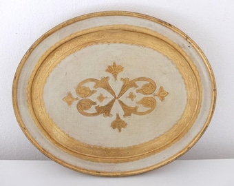 Tray serving tray wooden tray serving decorated gold color venezian baroque tray