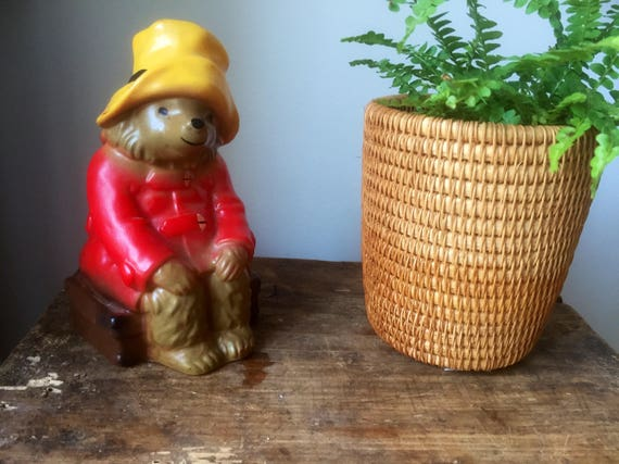 Vintage paddington bear coin bank vintage hard plastic great for a fun  shelfie  made in England 1979 / piggy bank