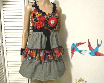 Upcycled Dress, Upcycled cotton dress, Recycled cotton dress, Size S
