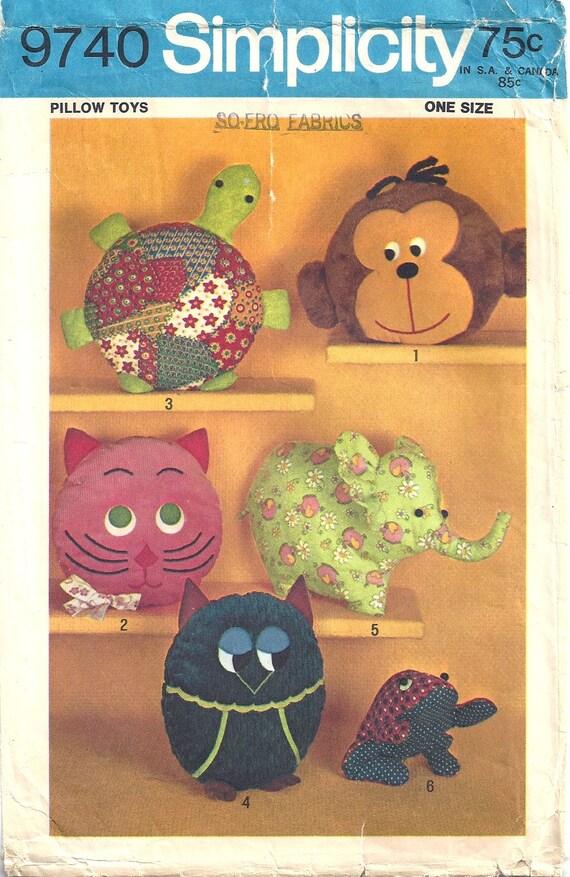 VTG 70er Einfachheit 9740 Nähen Muster Childrens Kissen Spielzeug ...