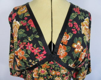 1970s Boho Hippy Floral C&A Dress-UK 8 Black Multi, Festival