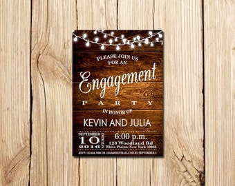 Engagement Party, Engagement Party Invitation, Engagement Invitation, Rustic, Chalkboard Engagement invitation, Engagement Party, Printable