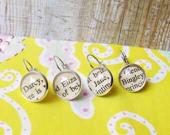 Jane Austen Progress Keeper Set - For Crochet Stitch Marker Knitting Earrings - Pride and Prejudice