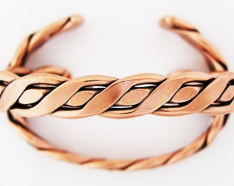 Twisted Braid Solid Copper Cuff Bracelet BCCUFF253 King Size Solid Copper Cuff Bracelet
