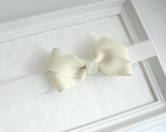 Ivory / Off White Baby Bow Headband, Infants, Toddlers, Girls, First Communion, Baptism, Ivory Hair Bow, Bow Headband, Baby Headband