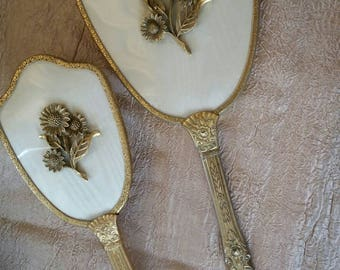 Vintage Vanity Brush and Mirror Set Gold Tone Daisies on Cream Colored Moire Fabric sn 1786
