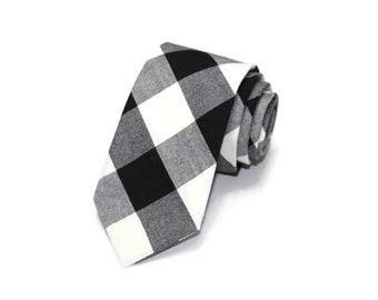 Black Buffalo Plaid Necktie~Anniversary Gift~Wedding Tie~Boys Necktie~Mens Necktie~Wedding~Mens Tie~Boys Tie~Mens Gift ~Black Gingham