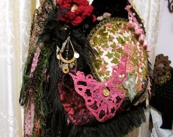 Bohemian Gypsy Bag, boho hippie edgy rocker, vintage velvet tapestry doily beads buttons embellished, upholstery and velvet fabric bag