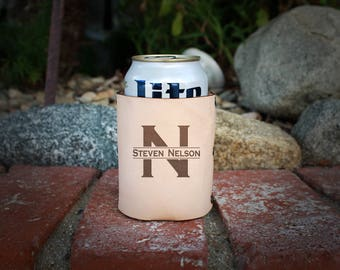 Genuine Leather Can Cooler, Personalized Beer Sleeve, Custom Can Insulator, Engraved Beverage Holder, Fathers Day Gift -- GLKZ-RAW-NELSON