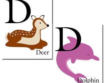 S A L E - D is for Dolphin... The Letter D - ABC Alphabet Art Print in 8 x 10