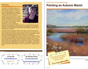 Pastel Painting Lesson Demo PDF Autumn MARSH LANDSCAPE Art Tutorial  booklet grasses,sky,clouds,water