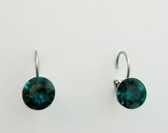 Emerald CRYSTALLIZED Swarovski element earrings
