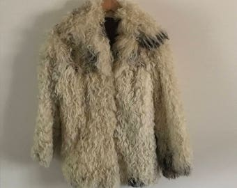 Vintage Cream Brown and Black Curly Mongolian Lamb Fur Coat
