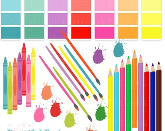 Artist Party Clip Art Digital Scrapbooking Rainbow Painting Crayons Art Commercial Use Instant Download