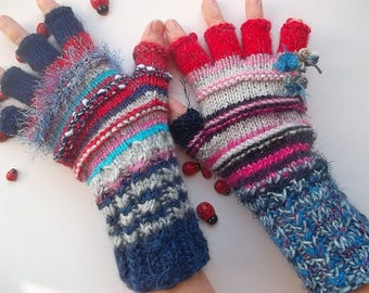 Women M 20% OFF Ready To Ship OOAK Half Fingers Wool Accessories Mittens Wrist Warmers Gloves Winter Hand Knitted Multicolor Striped Arm 21