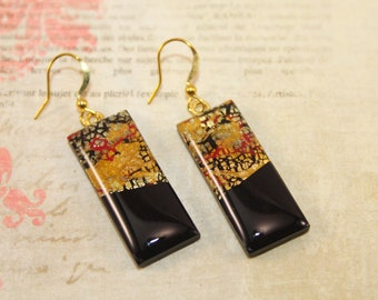 Klimt ispired rectangle earrings