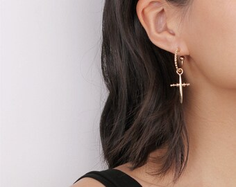 Gold/Silver Hoop Cross Earrings - Cross Dangle Earrings - Coachella Earrings - Two Ways Earrings