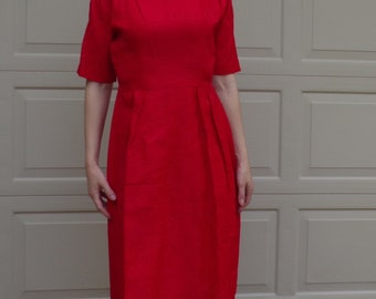 RED JACQUARD DRESS 1960s 60s 29 waist M