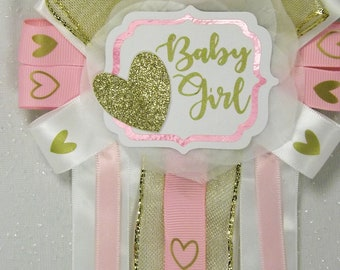 Pink baby shower, Mommy to be, Heart Corsage, Baby Girl Corsage, Pink Corsage, Gold Baby Shower Theme , Baby Shower, It's a girl, baby girl