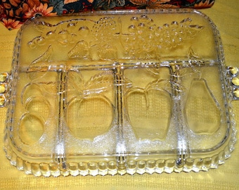 Indiana Crystal Glass Clear Fruit Divvided Five Part Serving Tray Platter