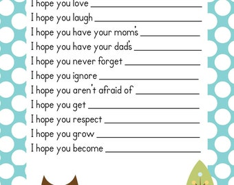 SALE Baby Boy Baby Owl Shower Game Wishes for Baby Advice Cards ! Instant Download Printable PDF ~ Baby Owl Blue Polka Dot Design