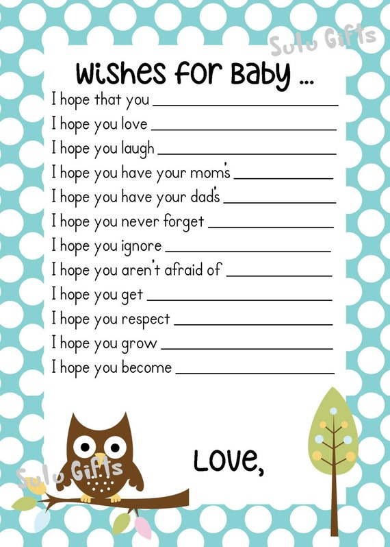 SALE Baby Boy Baby Owl Shower Game Wishes for Baby Advice