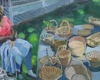 baskets , oil painting , impressionistic, figure, blue, green, landscape , South Carolina , gift , Christmas gift , original , one of a kind