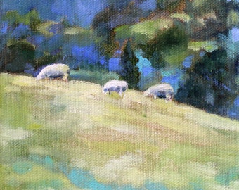 Grazing sheep on hillside painting- print of original oil landscape painting of sheep