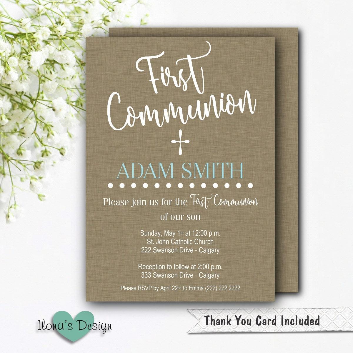 First Communion Invitation Boy Printable Communion