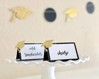 Graduation Party Food Labels in Black & Gold (6CT), Class of 2018, Place Cards, Graduation Party Decorations, H.S., College Bound, Congrats