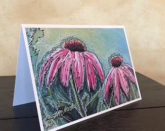 """Fine Art Note Cards 4-Pack - """"Two Coneflowers"""""""
