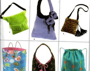 Simplicity 4778 Fleece Bag Purse Tote Sewing Pattern Uncut Elaine Heigl Designs
