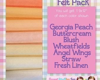 Creamsicle-Summer-Beach-Pool-Craft Wool Felt-Wool Blend Merino Felt Variety Pack-Summer Bundle