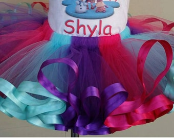 Hot pink, purple and aqua ribbon trimmed tutu ONLY