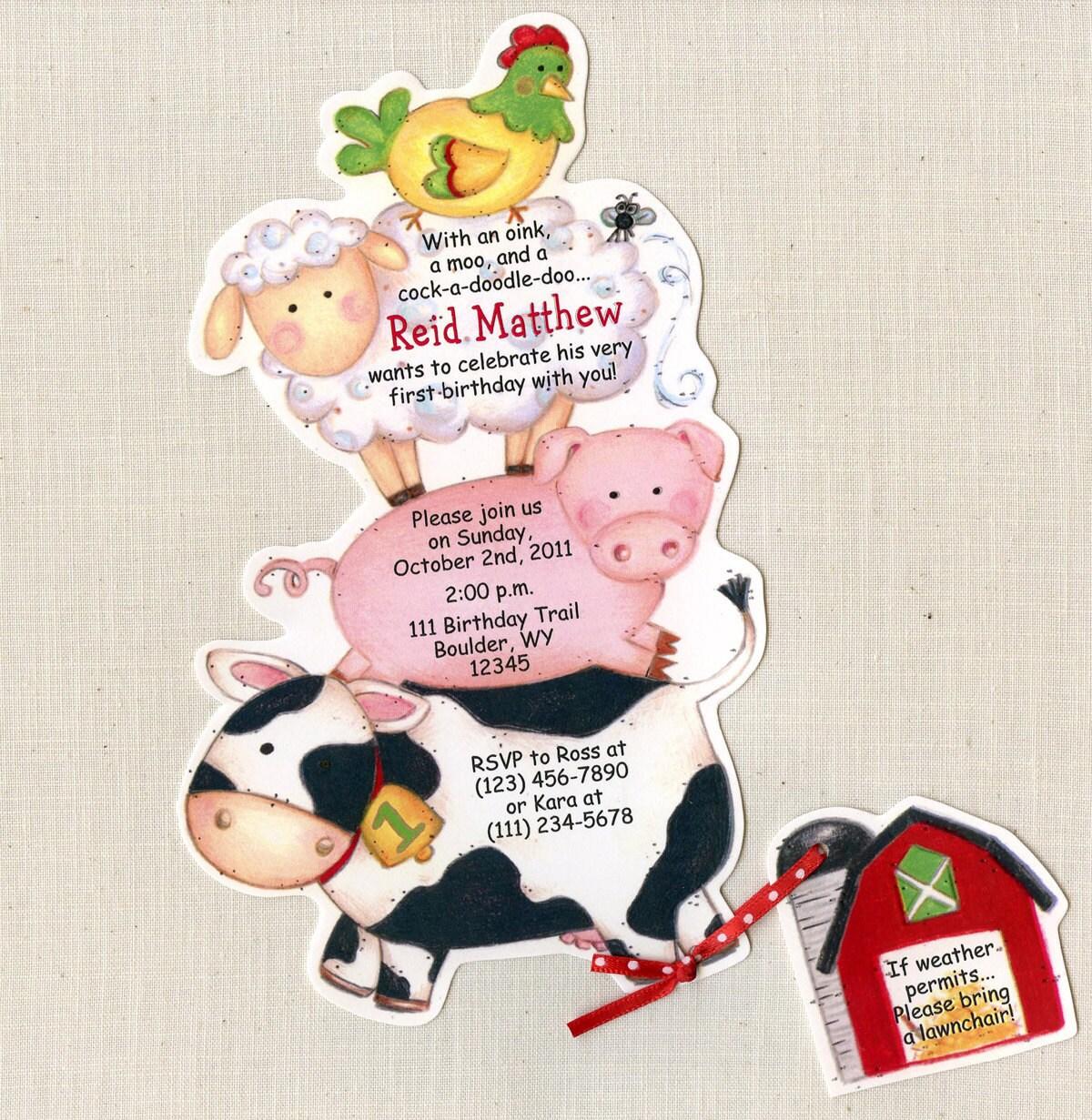 20 Farm Animal Birthday Party Invitations | Kid Birthday | Farm ...