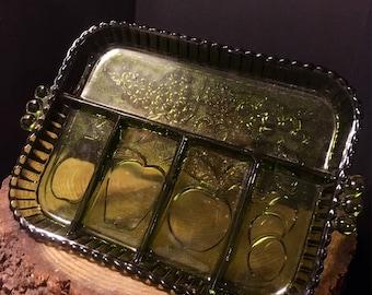 Vintage, Serving Tray, Fruit Platter, Sectional Glass, Fruit Decor