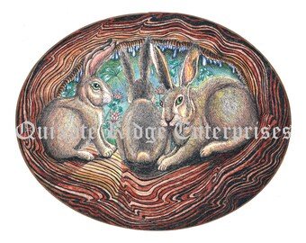 "8""x11"" 3 Rabbits Print from the original pen and ink by Don Magistrelli"