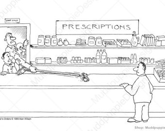 Very funny and Sick humour Artwork. Doctors Note for Prescriptions. Black and white sketched wall art and decor. Funny drawing for gift idea