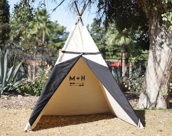 XL/XXL Two-tone teepee, 8ft kids Teepee, large tipi, Play tent, wigwam or playhouse with canvas and Overlapping front doors