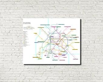 paris metro underground map wall art paris metro poster paris print railway map