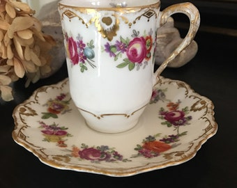 Antique Limoges Chocolate Cup Vintage Pink Roses Floral Gold Gilt Trim LDBC Flambeau France ~ #M2041
