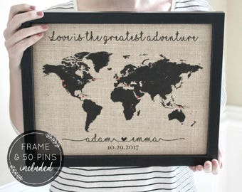 Personalized Travel Gifts, World Push Pin Map, Travel Map with Frame, Map Print, Travel Gift, Wedding Gifts, Anniversary Gifts Wife Gift